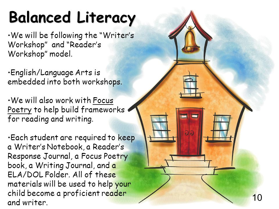 """10 Balanced Literacy We will be following the """"Writer's Workshop"""" and """"Reader's Workshop"""" model. English/Language Arts is embedded into both workshops"""