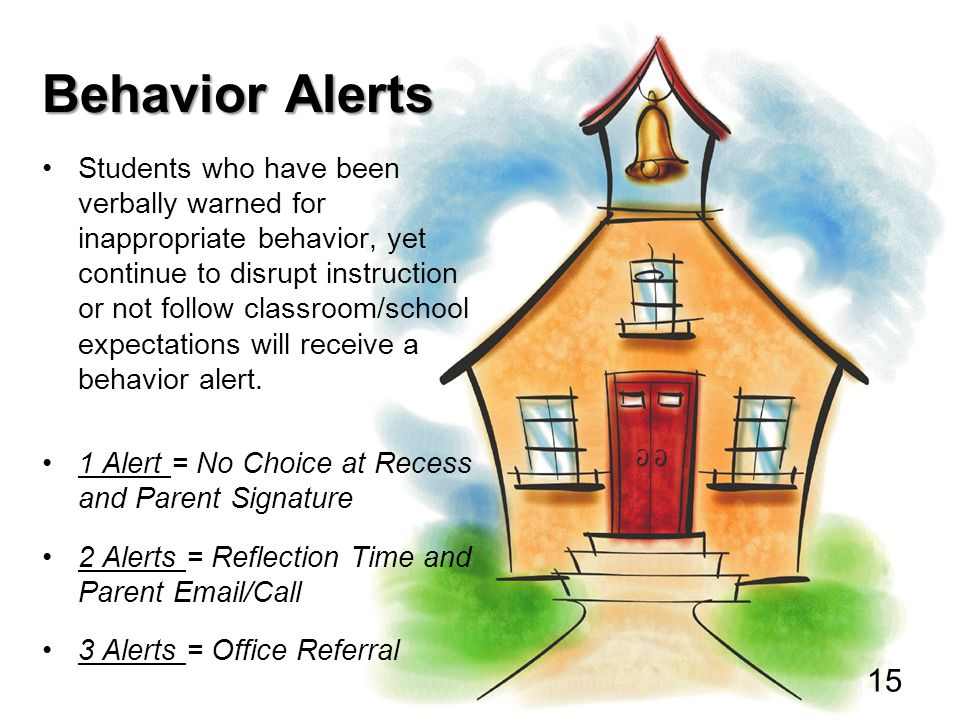 Behavior Alerts Students who have been verbally warned for inappropriate behavior, yet continue to disrupt instruction or not follow classroom/school