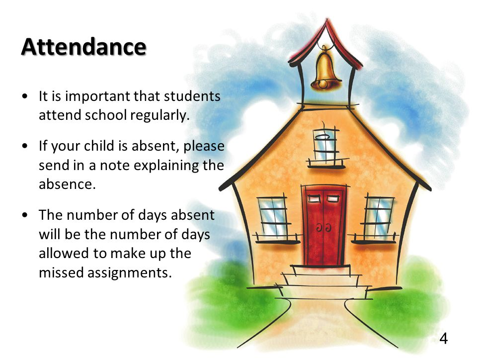 Attendance It is important that students attend school regularly. If your child is absent, please send in a note explaining the absence. The number of