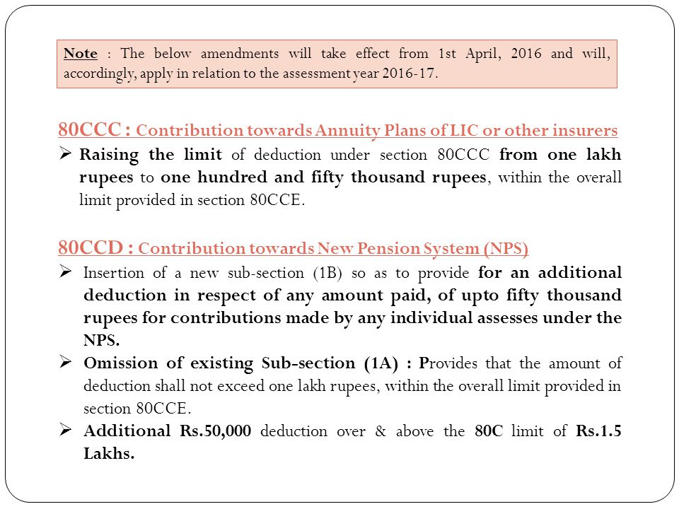 80CCC : Contribution towards Annuity Plans of LIC or other insurers  Raising the limit of deduction under section 80CCC from one lakh rupees to one h