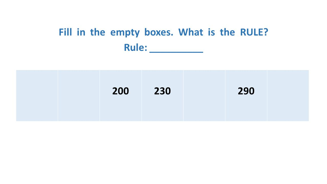 Fill in the empty boxes. What is the RULE? Rule: __________ 200230290