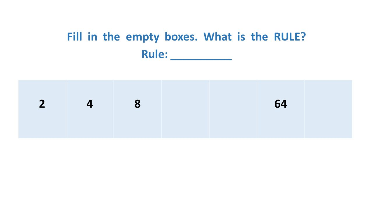 Fill in the empty boxes. What is the RULE? Rule: __________ 24864