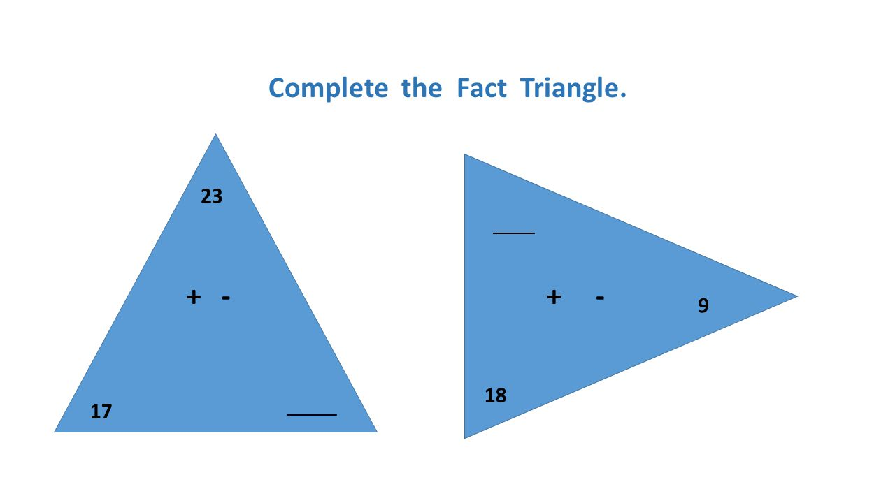 Complete the Fact Triangle. 23 17 + - ______ 18 9 + - _____