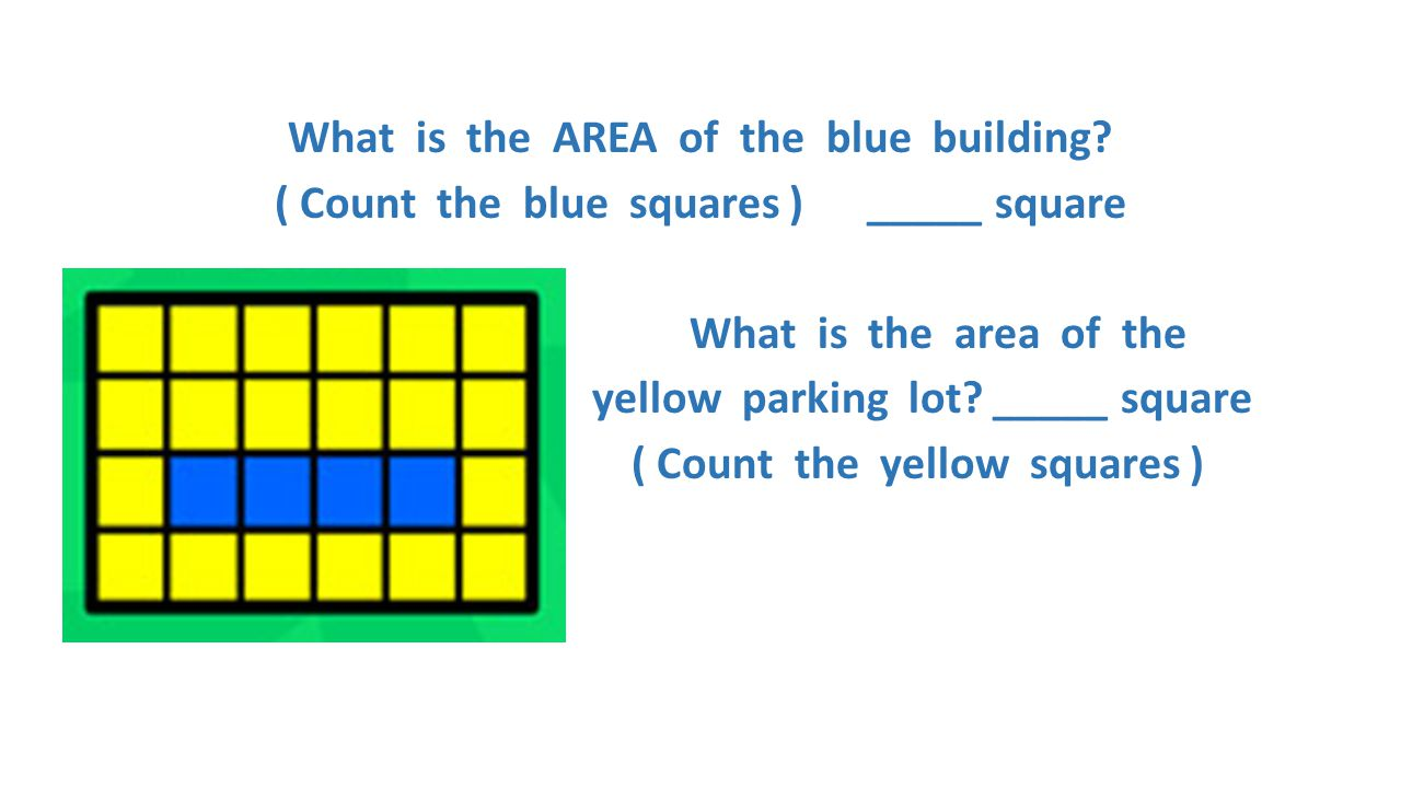 What is the AREA of the blue building? ( Count the blue squares ) _____ square What is the area of the yellow parking lot? _____ square ( Count the ye