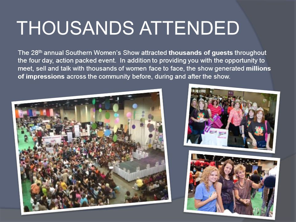 THOUSANDS ATTENDED The 28 th annual Southern Women's Show attracted thousands of guests throughout the four day, action packed event.