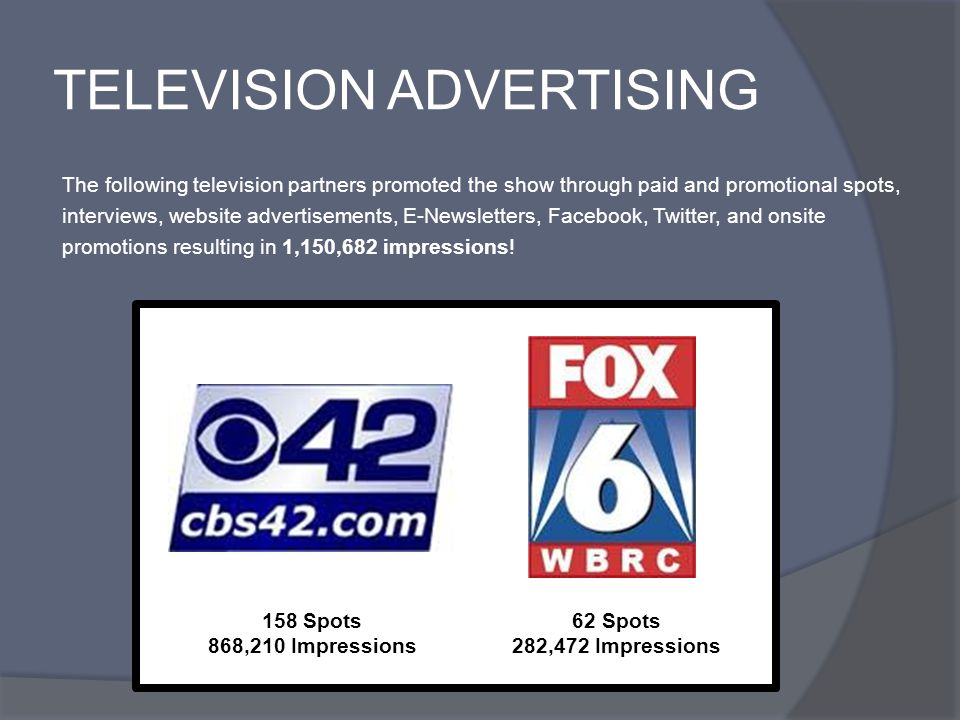 TELEVISION ADVERTISING The following television partners promoted the show through paid and promotional spots, interviews, website advertisements, E-Newsletters, Facebook, Twitter, and onsite promotions resulting in 1,150,682 impressions.