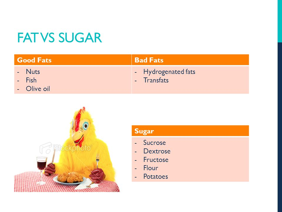 FAT VS SUGAR Good FatsBad Fats -Nuts -Fish -Olive oil -Hydrogenated fats -Transfats Sugar -Sucrose -Dextrose -Fructose -Flour -Potatoes