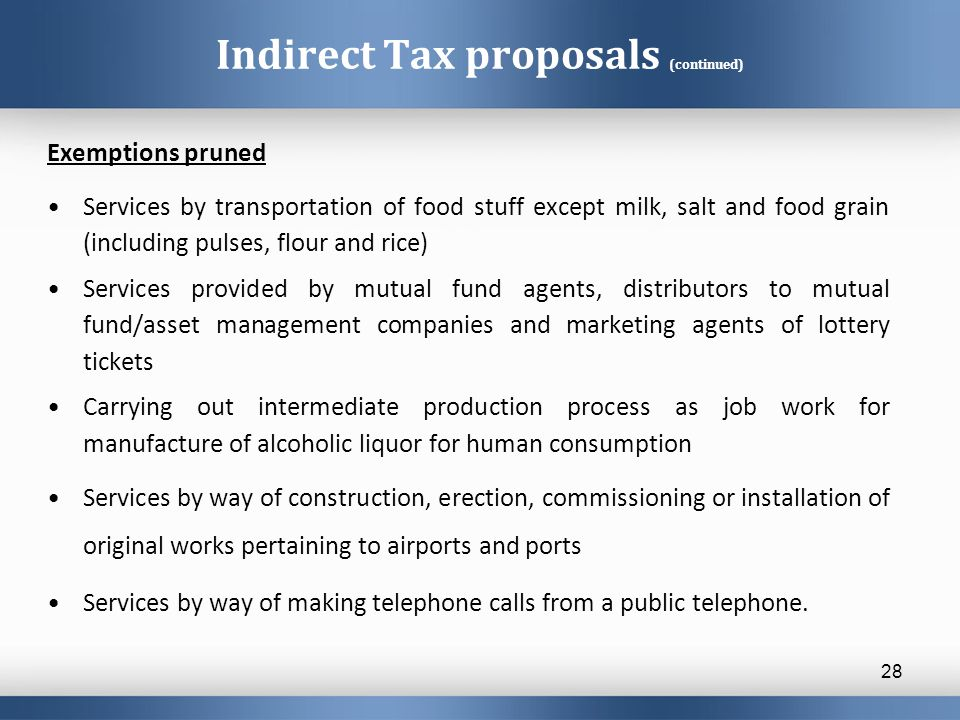 Indirect Tax proposals (continued) Exemptions pruned Services by transportation of food stuff except milk, salt and food grain (including pulses, flou