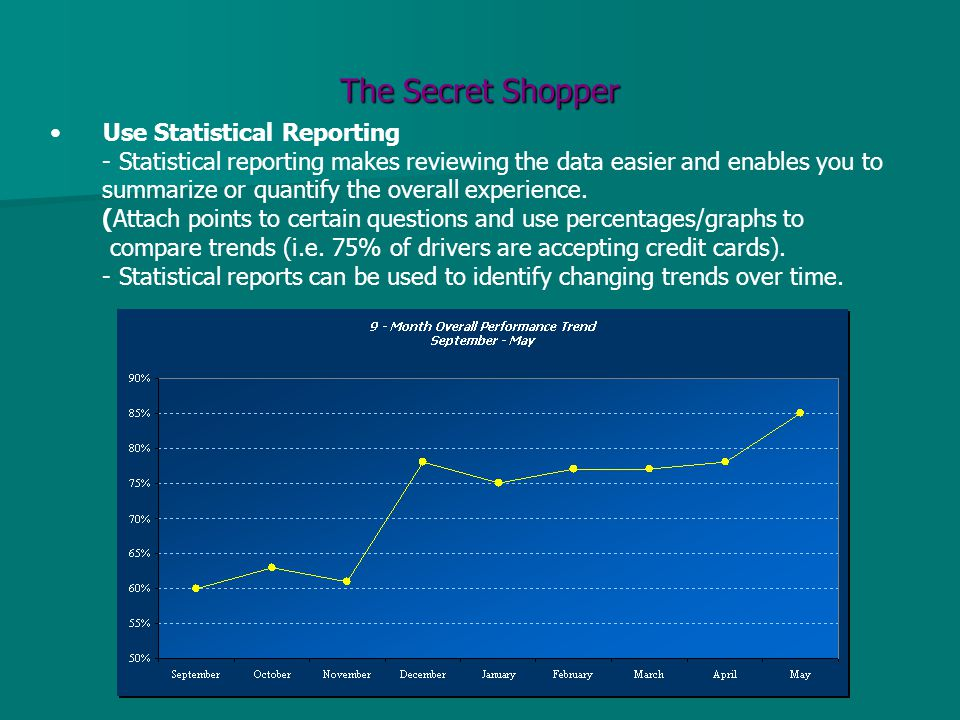 The Secret Shopper Use Statistical Reporting - Statistical reporting makes reviewing the data easier and enables you to summarize or quantify the over