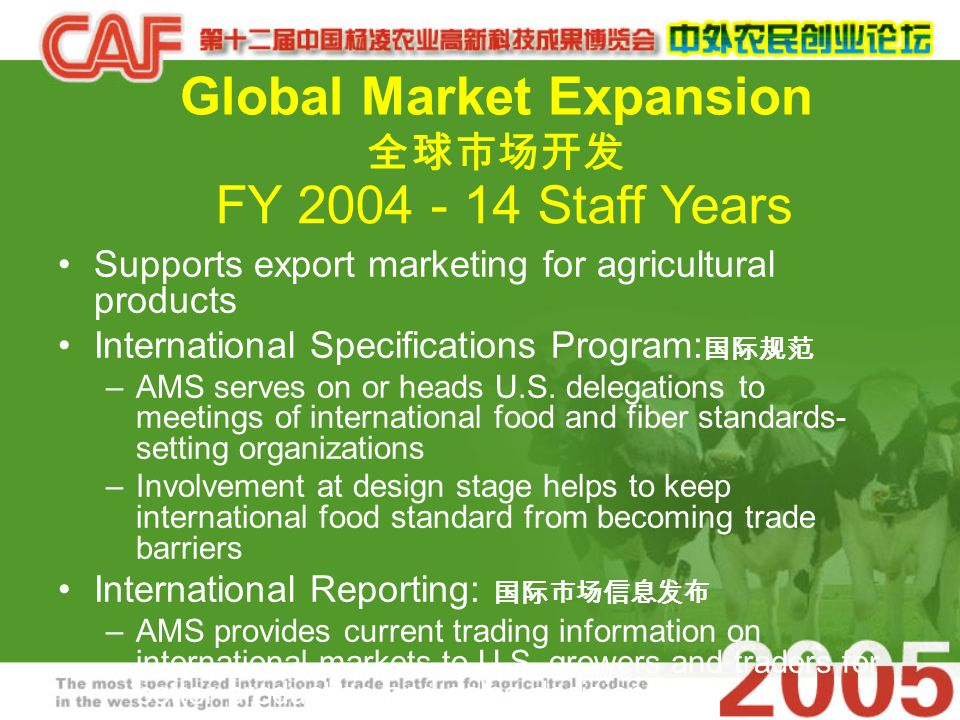 Global Market Expansion 全球市场开发 Supports export marketing for agricultural products International Specifications Program: 国际规范 –AMS serves on or heads U.S.