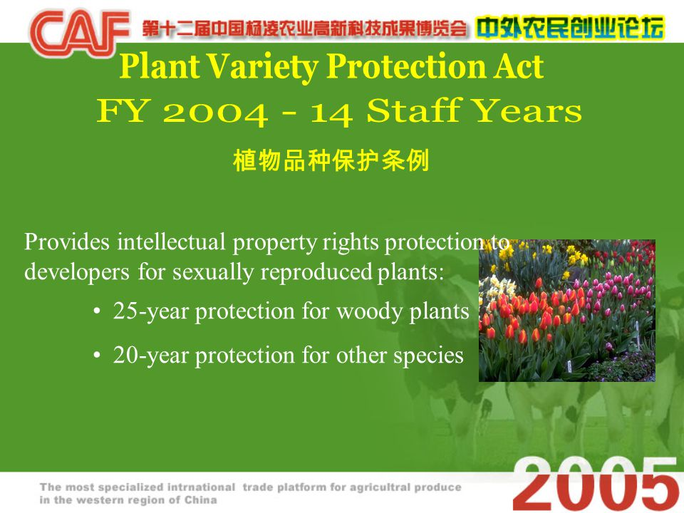 Provides intellectual property rights protection to developers for sexually reproduced plants: 25-year protection for woody plants 20-year protection for other species 植物品种保护条例