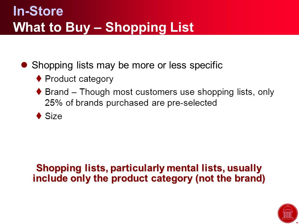 In-Store What to Buy – Shopping List lShopping lists may be more or less specific tProduct category tBrand – Though most customers use shopping lists, only 25% of brands purchased are pre-selected tSize Shopping lists, particularly mental lists, usually include only the product category (not the brand)