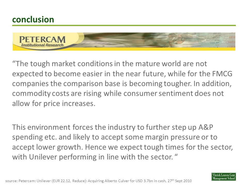 conclusion The tough market conditions in the mature world are not expected to become easier in the near future, while for the FMCG companies the comparison base is becoming tougher.