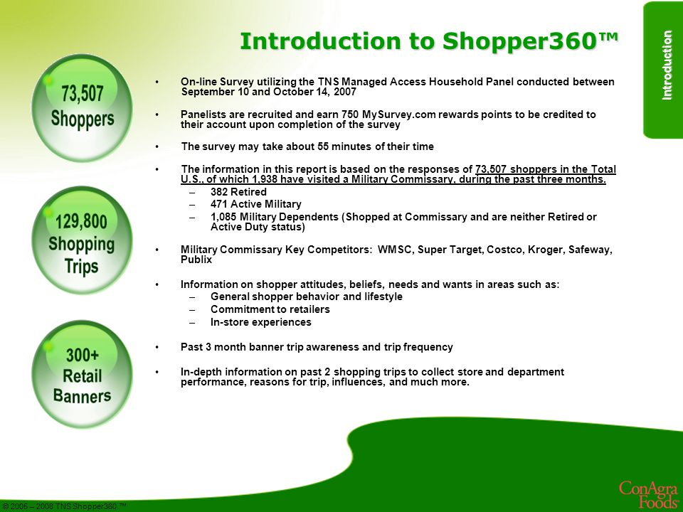 Introduction © 2005 – 2008 TNS Shopper360.™ Introduction to Shopper360™ On-line Survey utilizing the TNS Managed Access Household Panel conducted between September 10 and October 14, 2007 Panelists are recruited and earn 750 MySurvey.com rewards points to be credited to their account upon completion of the survey The survey may take about 55 minutes of their time The information in this report is based on the responses of 73,507 shoppers in the Total U.S., of which 1,938 have visited a Military Commissary, during the past three months.
