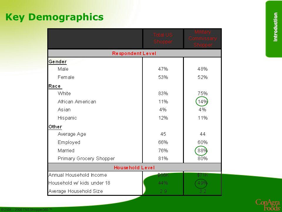 Introduction © 2005 – 2008 TNS Shopper360.™ Key Demographics