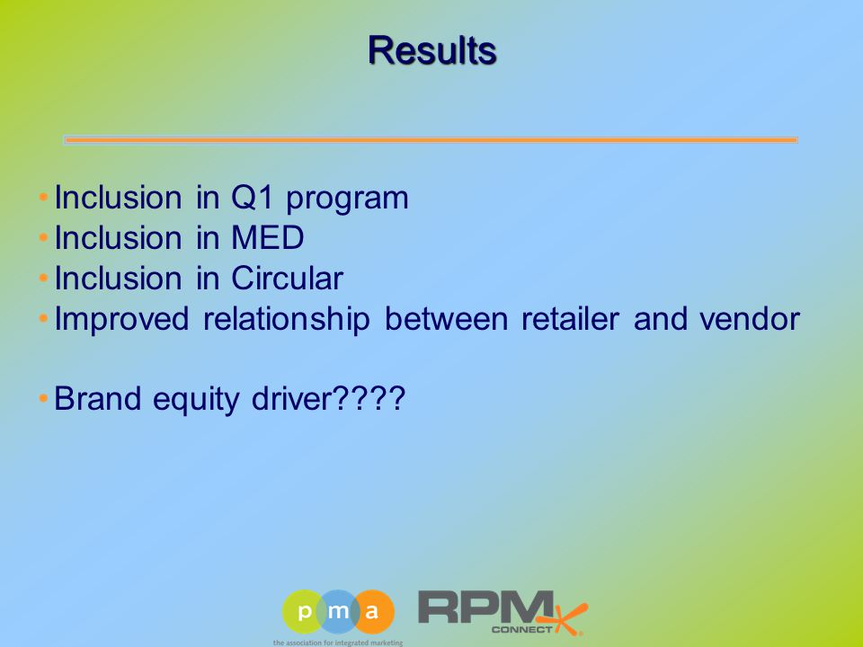 Inclusion in Q1 program Inclusion in MED Inclusion in Circular Improved relationship between retailer and vendor Brand equity driver .
