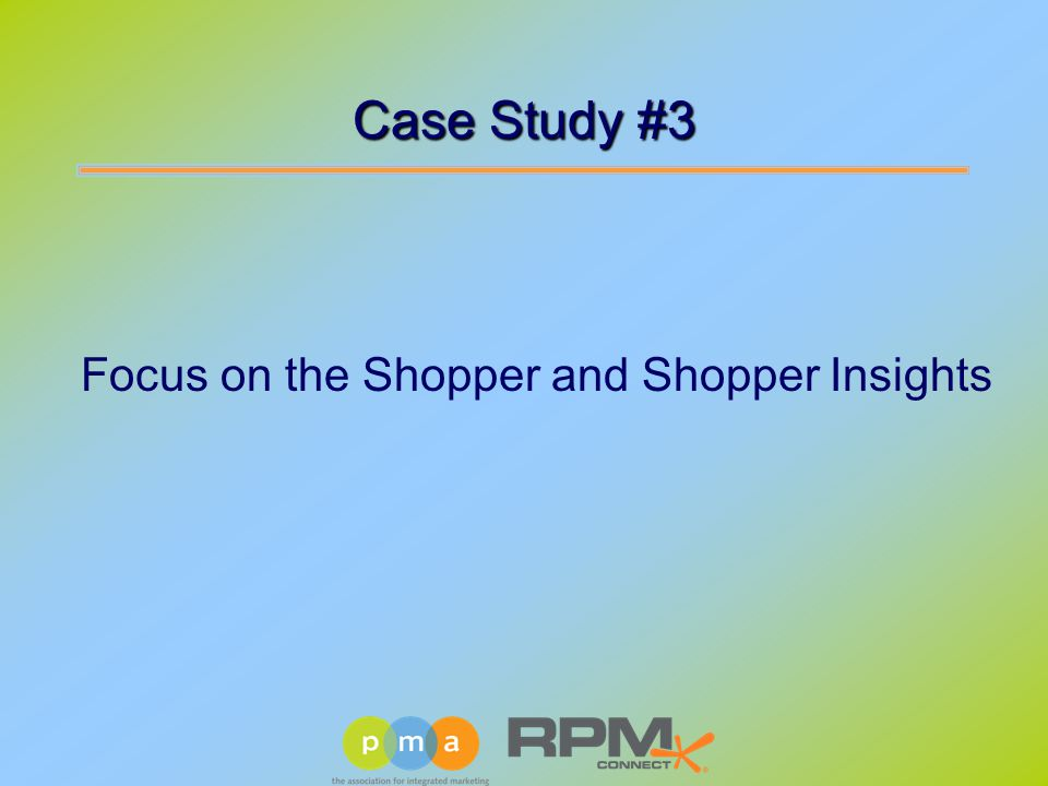 Case Study #3 Focus on the Shopper and Shopper Insights