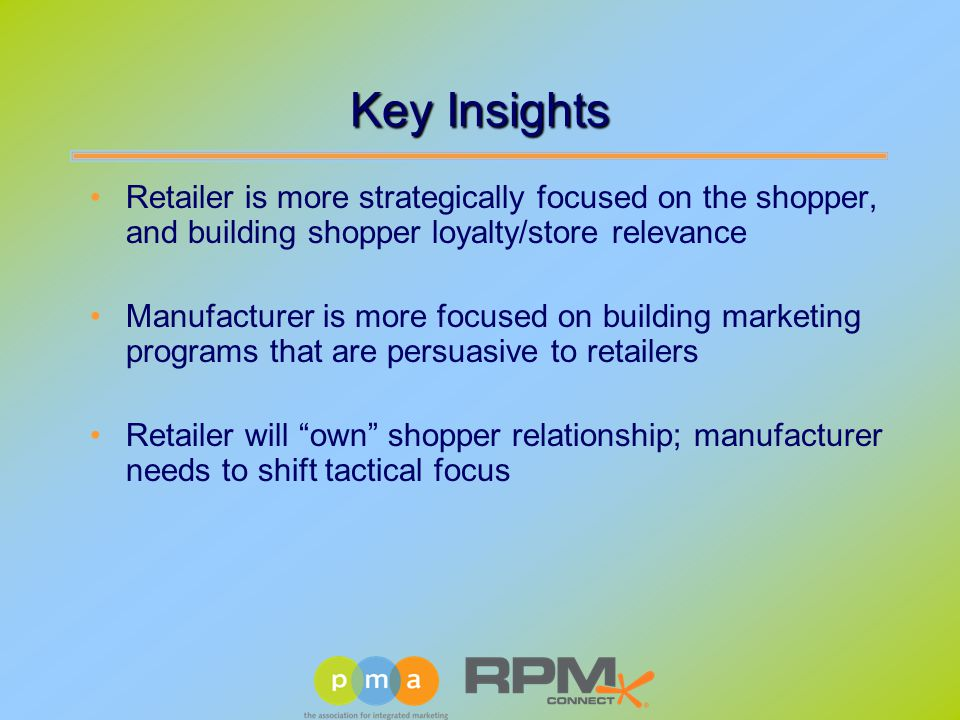 Key Insights Retailer is more strategically focused on the shopper, and building shopper loyalty/store relevance Manufacturer is more focused on building marketing programs that are persuasive to retailers Retailer will own shopper relationship; manufacturer needs to shift tactical focus
