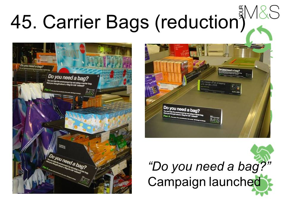 45. Carrier Bags (reduction) Do you need a bag Campaign launched