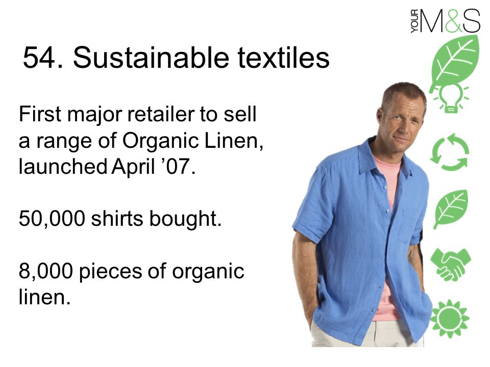 54. Sustainable textiles First major retailer to sell a range of Organic Linen, launched April '07.
