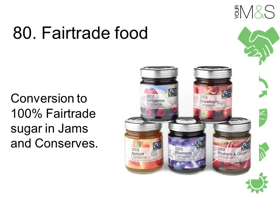 80. Fairtrade food Conversion to 100% Fairtrade sugar in Jams and Conserves.