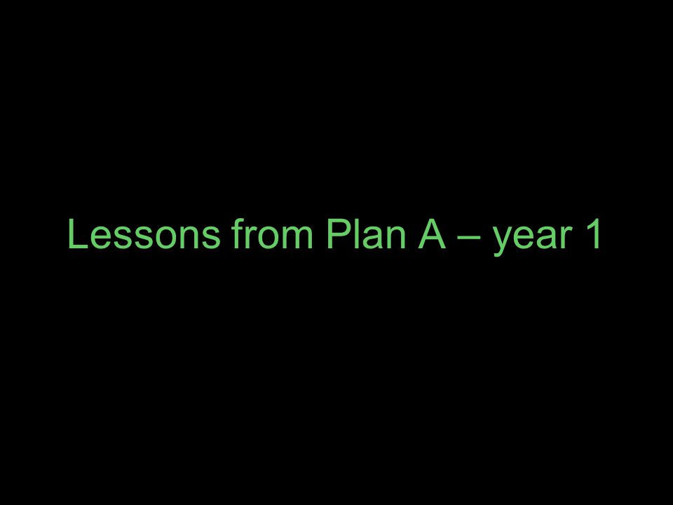 Lessons from Plan A – year 1