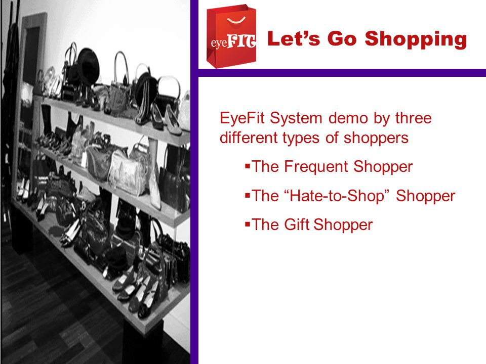 "Let's Go Shopping EyeFit System demo by three different types of shoppers  The Frequent Shopper  The ""Hate-to-Shop"" Shopper  The Gift Shopper"