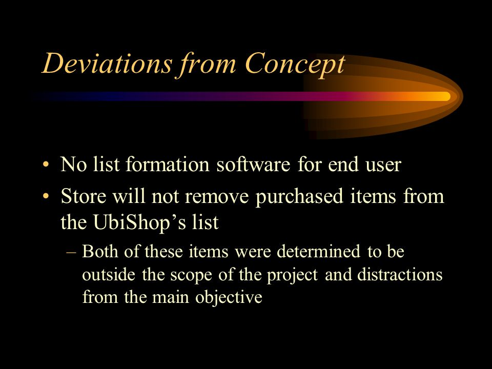 Deviations from Concept No list formation software for end user Store will not remove purchased items from the UbiShop's list –Both of these items were determined to be outside the scope of the project and distractions from the main objective