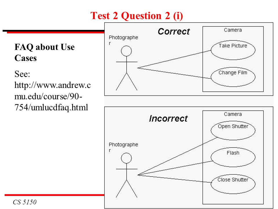 CS 5150 7 Test 2 Question 2 (i) FAQ about Use Cases See: http://www.andrew.c mu.edu/course/90- 754/umlucdfaq.html