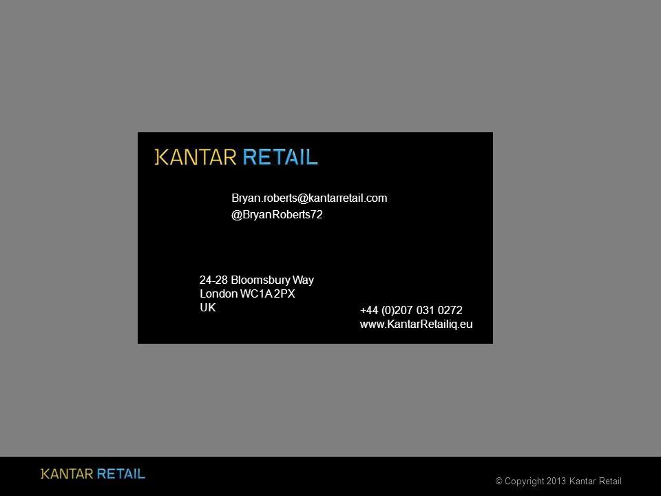 © Copyright 2013 Kantar Retail +44 (0)207 031 0272 www.KantarRetailiq.eu 24-28 Bloomsbury Way London WC1A 2PX UK Bryan.roberts@kantarretail.com @BryanRoberts72