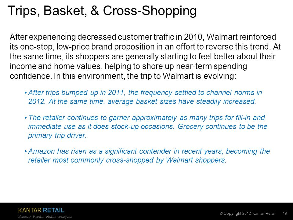 © Copyright 2012 Kantar Retail Trips, Basket, & Cross-Shopping After experiencing decreased customer traffic in 2010, Walmart reinforced its one-stop, low-price brand proposition in an effort to reverse this trend.