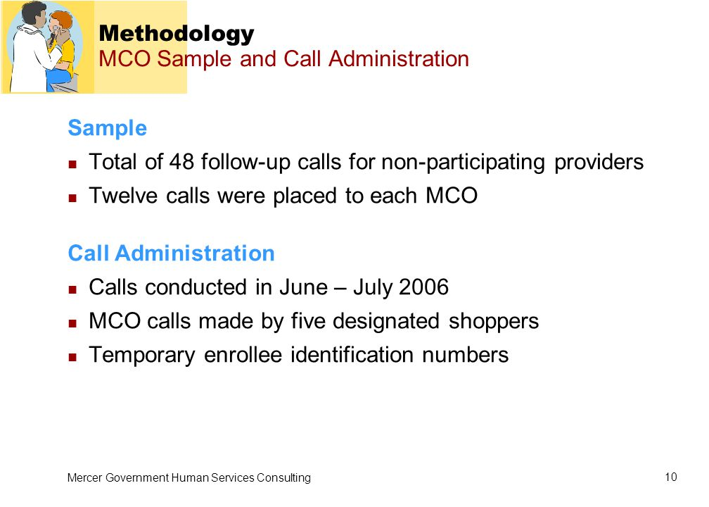 Mercer Government Human Services Consulting 10 Methodology MCO Sample and Call Administration Sample Total of 48 follow-up calls for non-participating providers Twelve calls were placed to each MCO Call Administration Calls conducted in June – July 2006 MCO calls made by five designated shoppers Temporary enrollee identification numbers