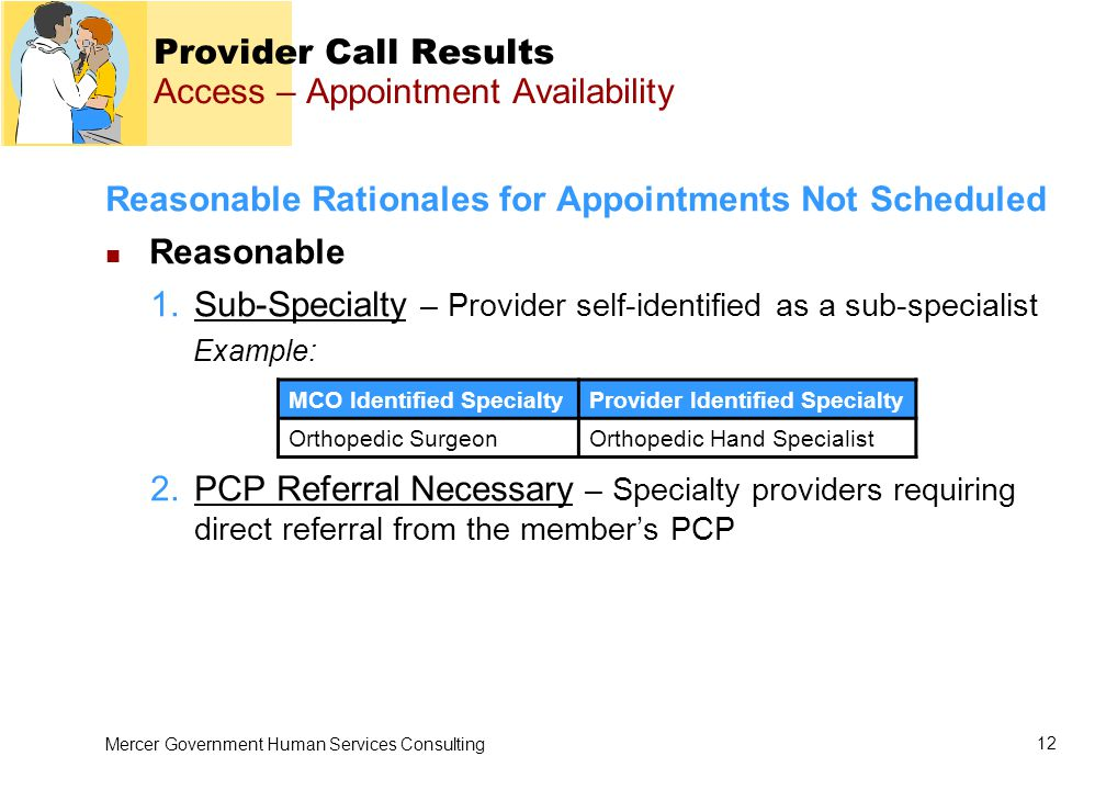 Mercer Government Human Services Consulting 12 Provider Call Results Access – Appointment Availability Reasonable Rationales for Appointments Not Scheduled Reasonable 1.Sub-Specialty – Provider self-identified as a sub-specialist Example: 2.PCP Referral Necessary – Specialty providers requiring direct referral from the member's PCP MCO Identified SpecialtyProvider Identified Specialty Orthopedic SurgeonOrthopedic Hand Specialist