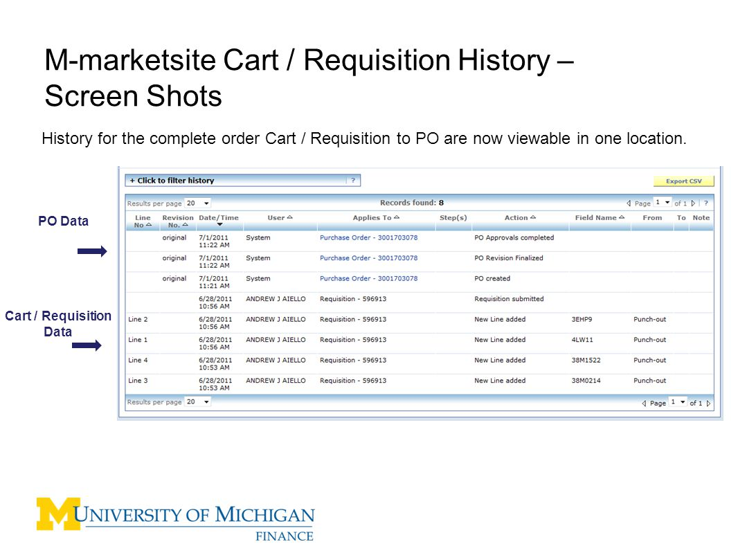9 M-marktsite Cart / Requisition Comments – Screen Shots Select All from the Filter Need screen shot of comments