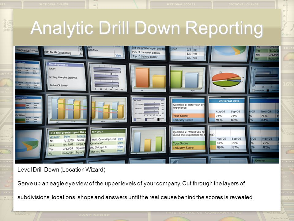 Analytic Drill Down Reporting Level Drill Down (Location Wizard) Serve up an eagle eye view of the upper levels of your company.