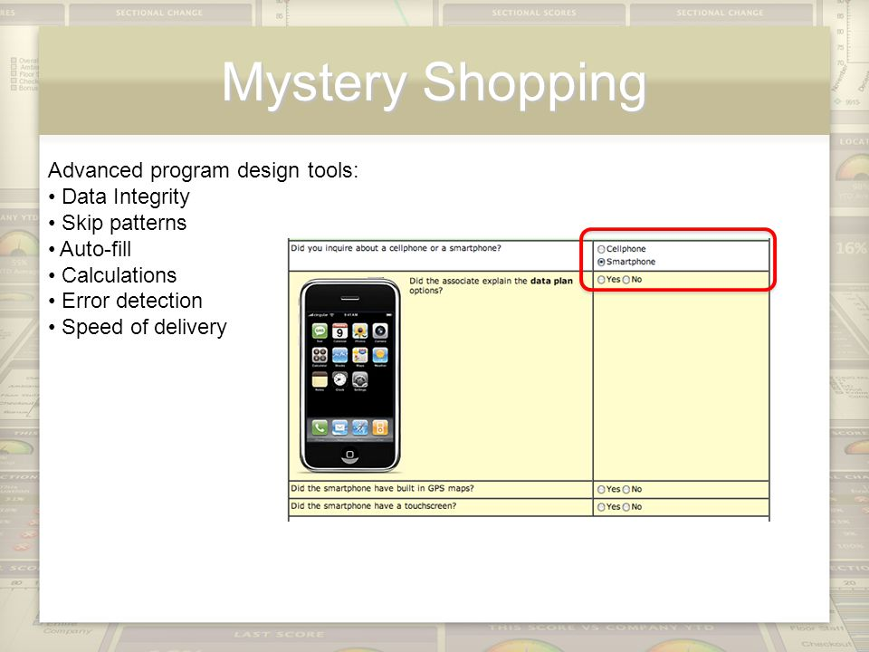 Mystery Shopping Advanced program design tools: Data Integrity Skip patterns Auto-fill Calculations Error detection Speed of delivery