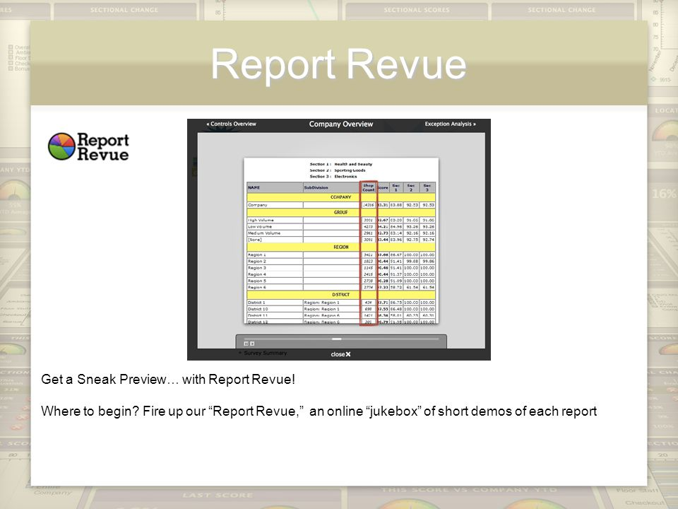 Report Revue Get a Sneak Preview… with Report Revue.