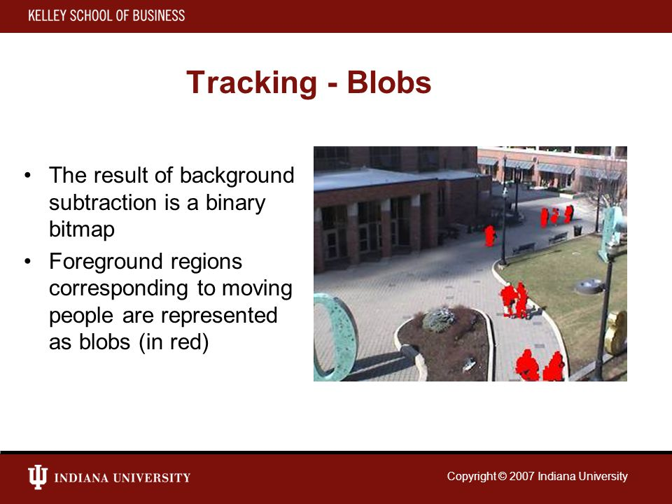 Copyright © 2007 Indiana University Tracking - Blobs The result of background subtraction is a binary bitmap Foreground regions corresponding to moving people are represented as blobs (in red)