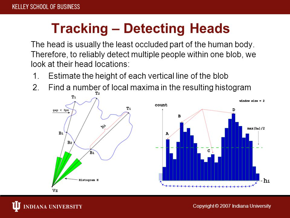Copyright © 2007 Indiana University Tracking – Detecting Heads The head is usually the least occluded part of the human body.