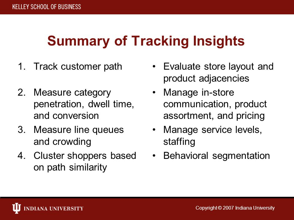 Copyright © 2007 Indiana University Summary of Tracking Insights 1.Track customer path 2.Measure category penetration, dwell time, and conversion 3.Measure line queues and crowding 4.Cluster shoppers based on path similarity Evaluate store layout and product adjacencies Manage in-store communication, product assortment, and pricing Manage service levels, staffing Behavioral segmentation