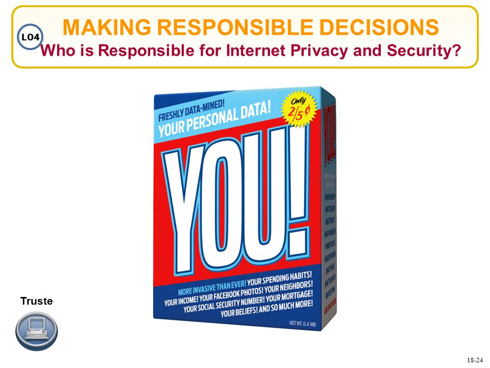 MAKING RESPONSIBLE DECISIONS Who is Responsible for Internet Privacy and Security LO4 Truste 18-24