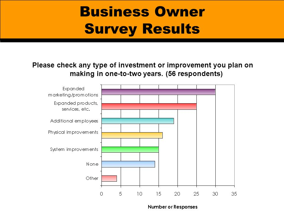 Business Owner Survey Results Please check any type of investment or improvement you plan on making in one-to-two years. (56 respondents)