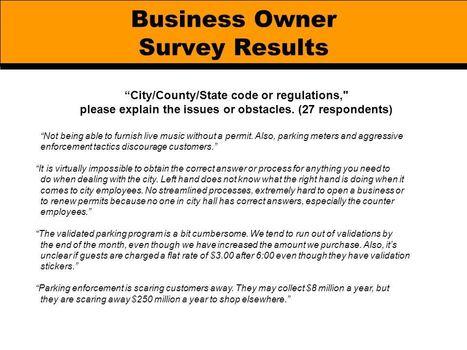 "Business Owner Survey Results ""City/County/State code or regulations,"