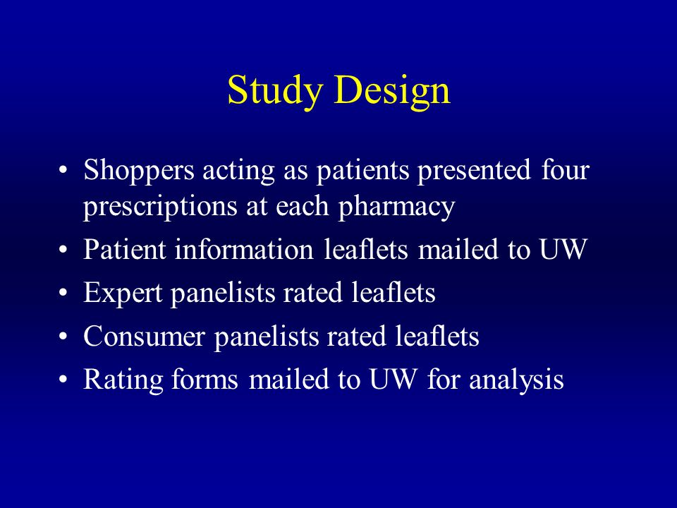 Study Design Shoppers acting as patients presented four prescriptions at each pharmacy Patient information leaflets mailed to UW Expert panelists rated leaflets Consumer panelists rated leaflets Rating forms mailed to UW for analysis