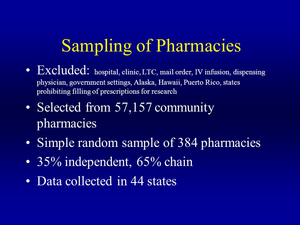 Sampling of Pharmacies Excluded: hospital, clinic, LTC, mail order, IV infusion, dispensing physician, government settings, Alaska, Hawaii, Puerto Ric