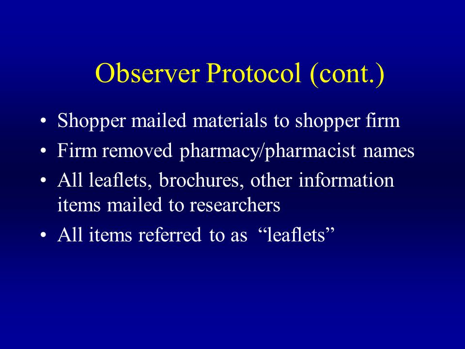 Observer Protocol (cont.) Shopper mailed materials to shopper firm Firm removed pharmacy/pharmacist names All leaflets, brochures, other information items mailed to researchers All items referred to as leaflets