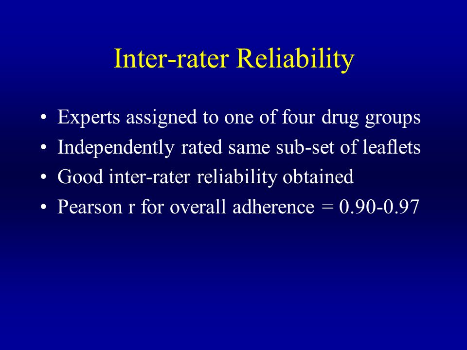 Inter-rater Reliability Experts assigned to one of four drug groups Independently rated same sub-set of leaflets Good inter-rater reliability obtained Pearson r for overall adherence = 0.90-0.97
