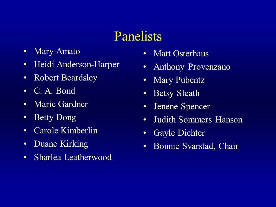 Panelists Mary Amato Heidi Anderson-Harper Robert Beardsley C.