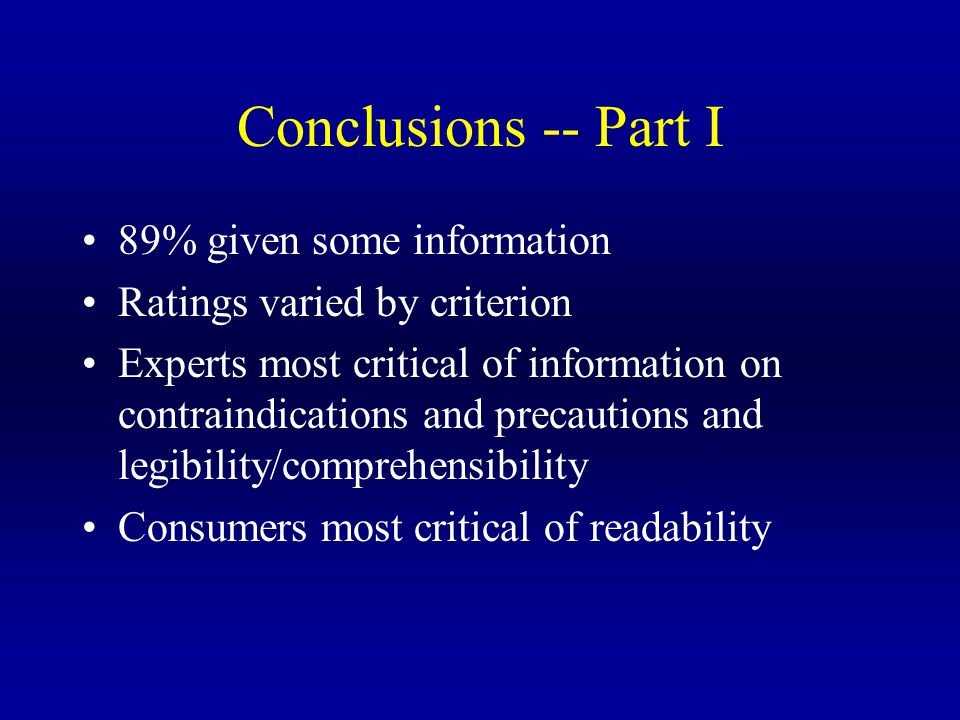 Conclusions -- Part I 89% given some information Ratings varied by criterion Experts most critical of information on contraindications and precautions