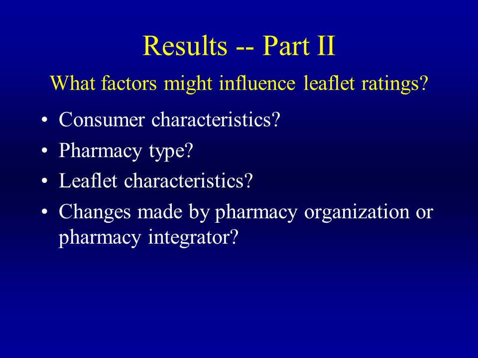 Results -- Part II What factors might influence leaflet ratings.